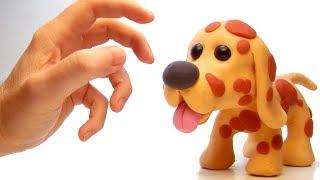 Dog in the mud 💕 Superhero Play Doh Stop motion cartoons