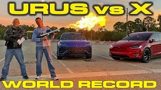 World Record Showdown Lamborghini Urus vs Tesla Model X P100D 1/4 mile Drag Racing