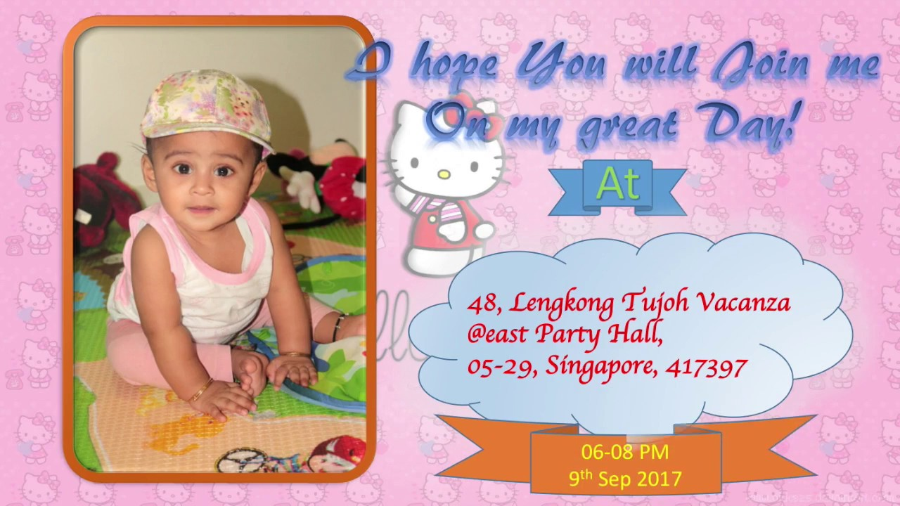 Birthday Invitation Video Of One Year Old Baby Girl
