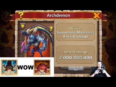 INSANE Arcdemon Squad EASY Max Damage 5 SUMMONS Castle Clash
