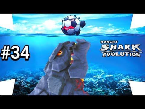 PIROTUBARÃO TACANDO FOGO NA BOLA DE FUTEBOL - GAMEPLAY HUNGRY SHARK EVOLUTION #34