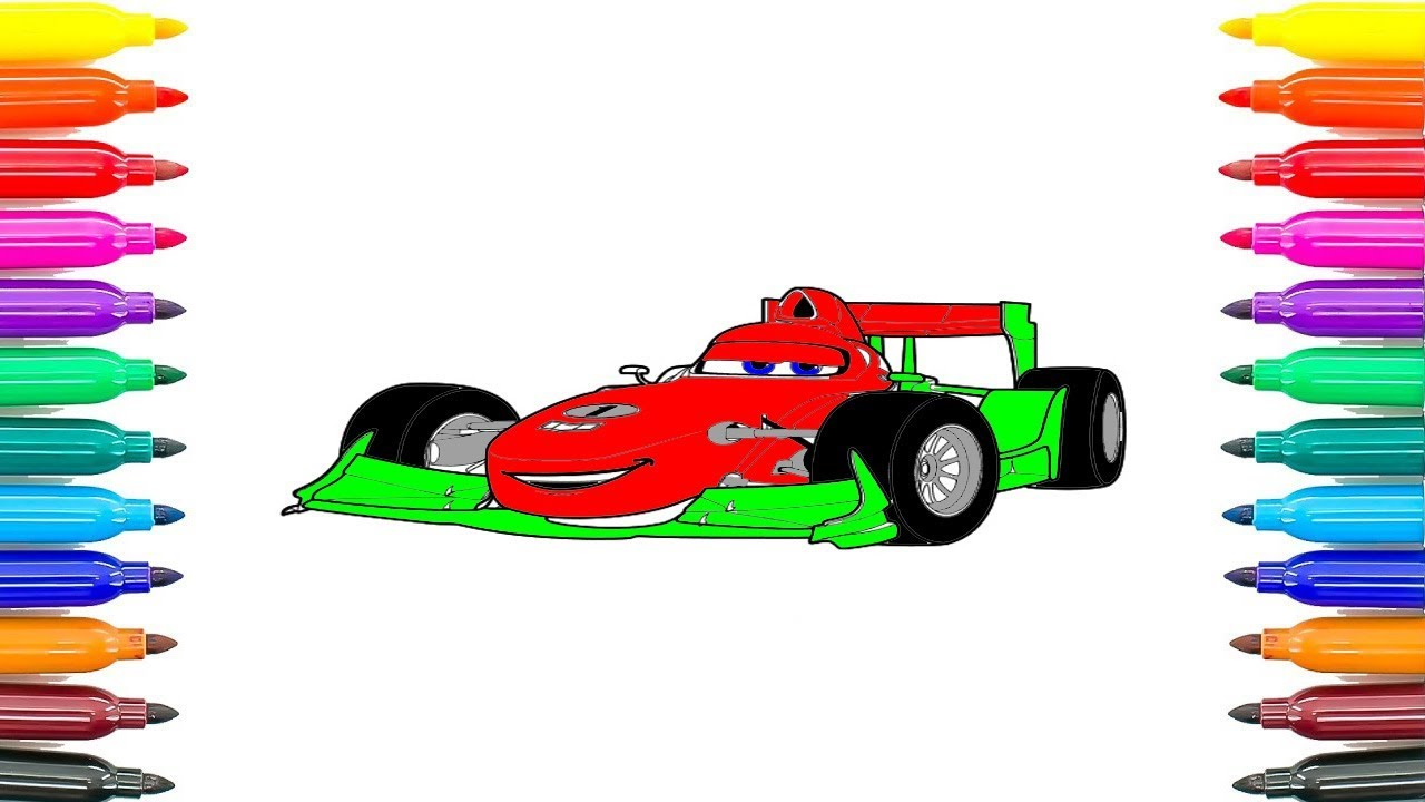 How To Coloring Car Francesco Bernoulli Pages For Kids Learn Colors Funny