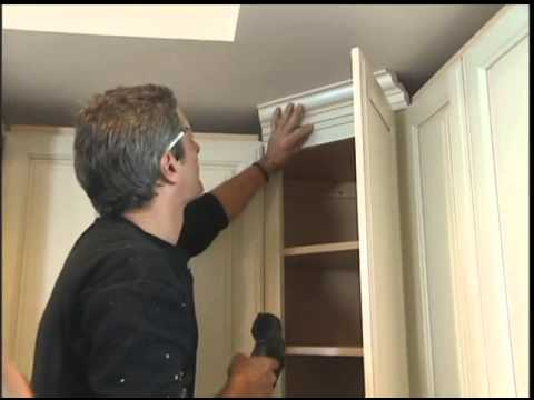 installing molding on the kitchen cabinets youtube. Black Bedroom Furniture Sets. Home Design Ideas