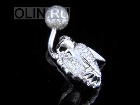 "Пирсинг-серьга ""Колибри"" с бриллиантами"