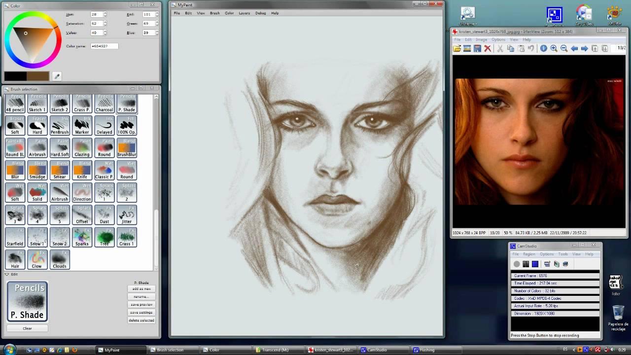 Kristen Stewart Portrait In Mypaint Timelapse Youtube
