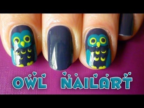 easy owl nail art tutorial for fall/autumn or halloween