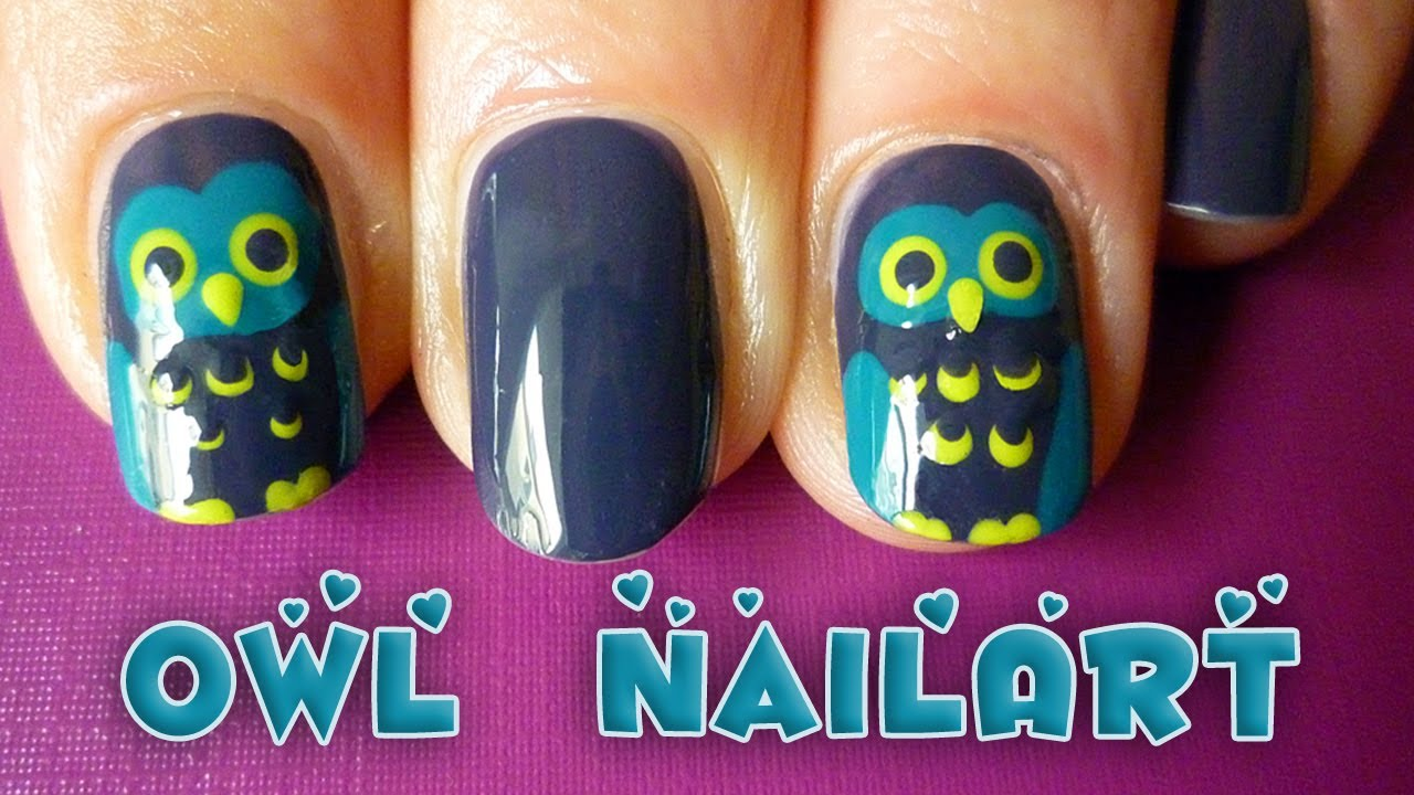 easy owl nail art tutorial for fall/autumn or halloween - YouTube