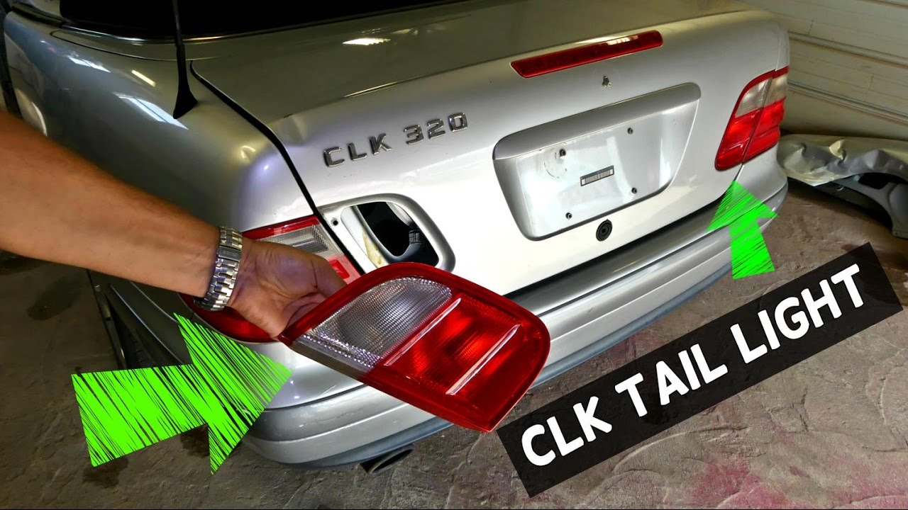 mercedes clk w208 trunk lid tail light brake light assembly replacement removal [ 1280 x 720 Pixel ]