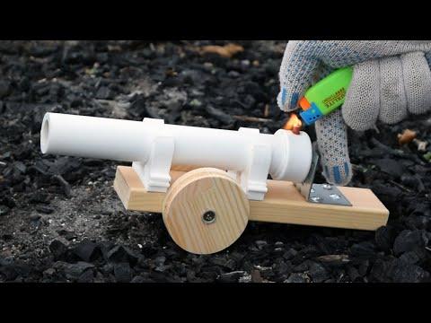 Модель пушки из пластиковой трубы (бахает громко)