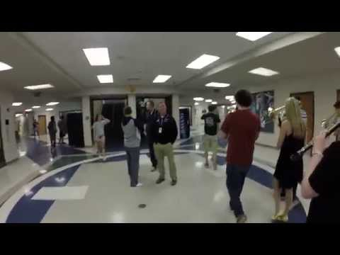 Senior Prank: Band marches through halls playing The Final Countdown