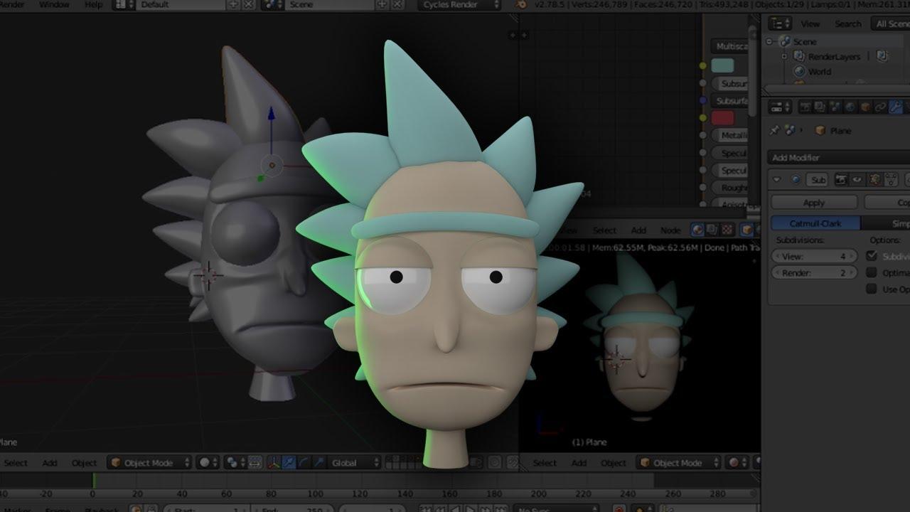 Blender Build Rick Sanchez Download Free To Use