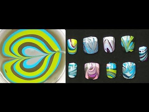 ASMR Binaural Water Marble Nail Art Tutorial:  Ear to Ear Nail Polish Art For Beginners