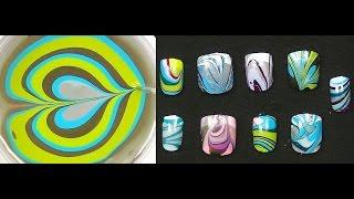asmr binaural water marble nail art tutorial ear to ear nail polish art for beginners