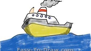 How to draw a cartoon boat on the sea - Free & Easy Tutorial for Kids