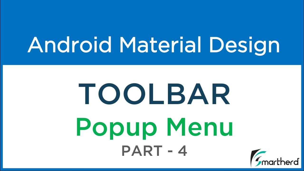 #203 Android POPUP Menu in Toolbar  Part - 4 Android Material Design Toolbar
