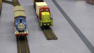 HO Scale Big Model Trains in action as Thomas Locomotive for kinds:  from Hobby fair 2017, Norway