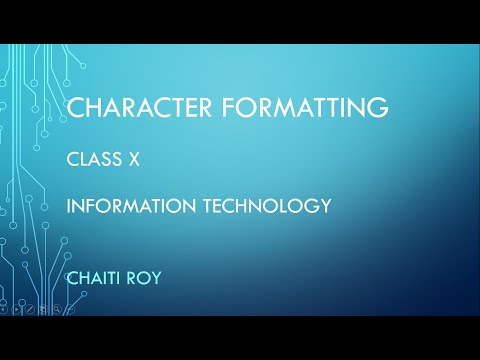 Word Processing Character Formatting