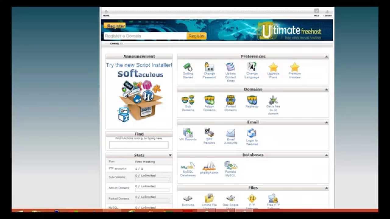Бесплатный хостинг на cpanel как сделать фон страницы сайта