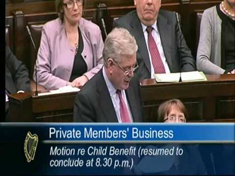 Eamon Gilmore TD speaking on Child Benefit