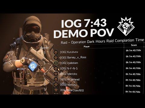 [IOG] Operation Dark Hours Speedrun [7:43] Demo POV | The Division 2