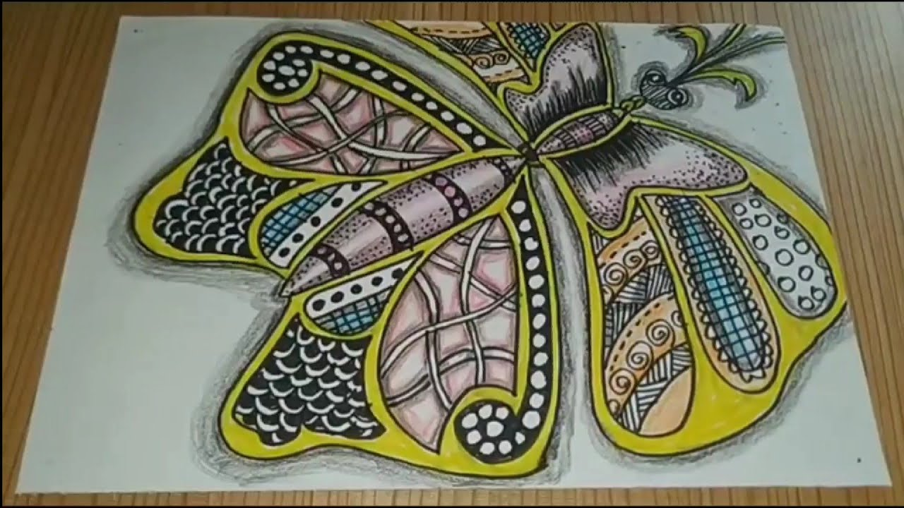 Download How to drawing Doodle butterfly tangle batik animal