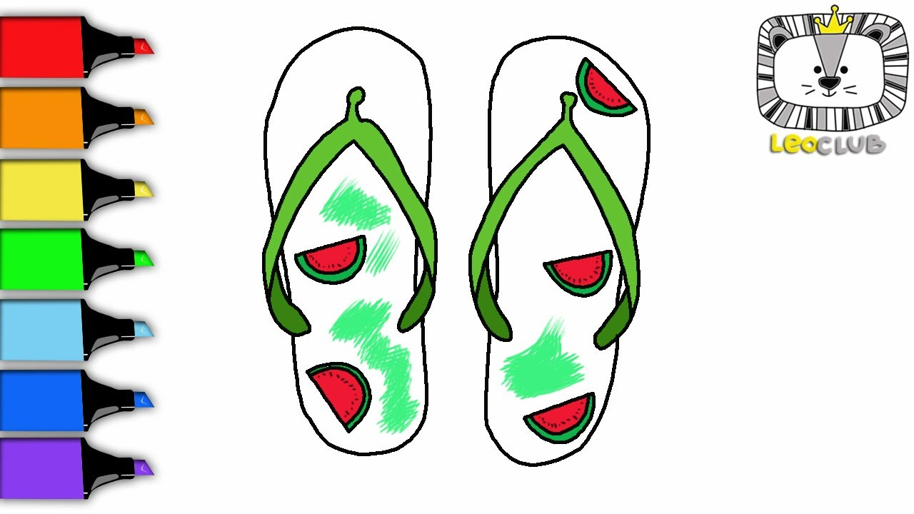 How to Draw Flip-Flops. Learning Coloring Pages for Kids. LEOCLUB ...