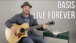 """Video How to Play """"Live Forever"""" by Oasis on Guitar - Easy Acoustic Songs download MP3, 3GP, MP4, WEBM, AVI, FLV Juli 2018"""
