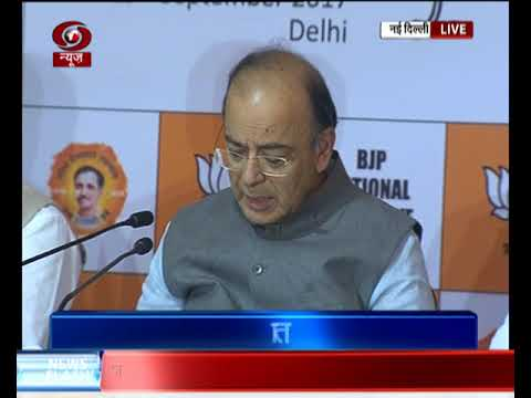 Union Minister Arun Jaitley addresses media at BJP National Executive Meet