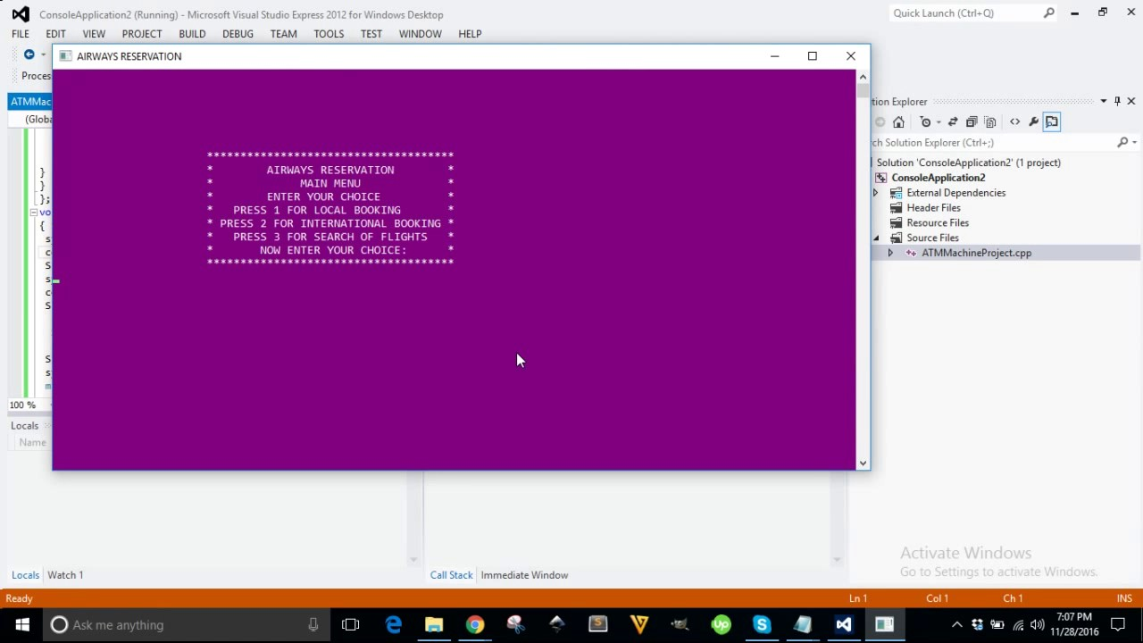 Airways reservation system project in c++ visual studio (Demo)