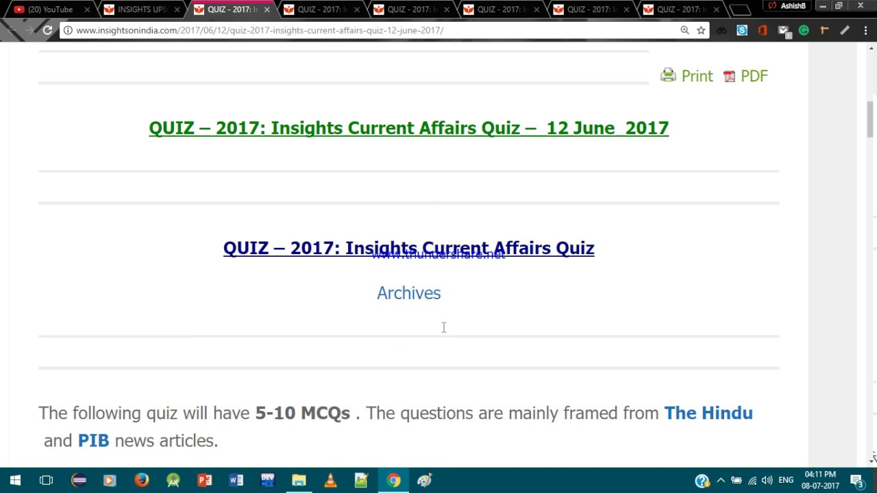 Insights Current Affairs Quiz Pdf