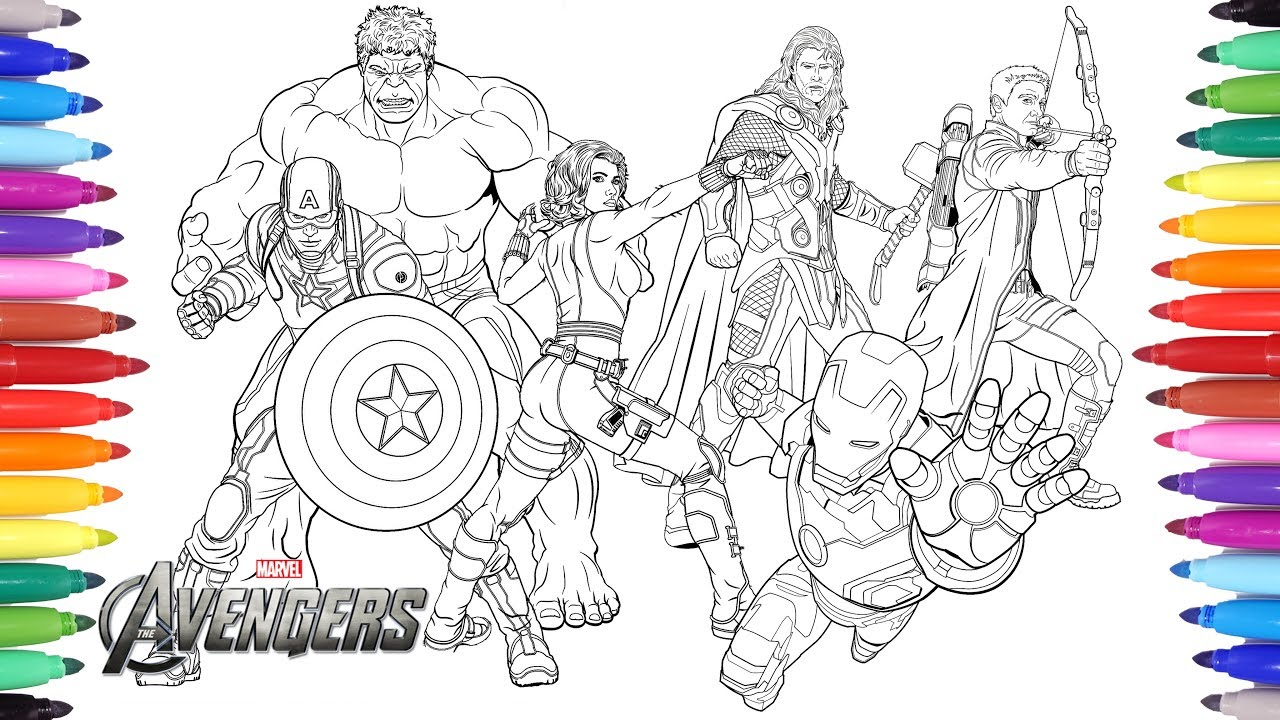 the avengers coloring pages coloring painting avengers iron man captain america thor hulk - Avengers Coloring Page