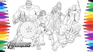 THE AVENGERS Coloring Pages | Coloring Painting Avengers Iron Man Captain America Thor Hulk thumbnail