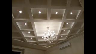видео Кессонный потолок из гипсокартона своими руками