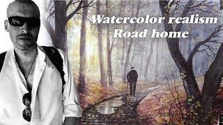 Watercolor realism.  Road home. I.S. fine ART.