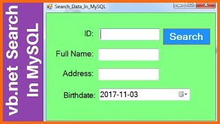 VBNET - How To Search Data In MySQL DataBase Using Visual Basic Net  with source code