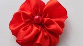 КАК сделать ЦВЕТОК из АТЛАСНОЙ ЛЕНТЫ Satin Ribbon Flower