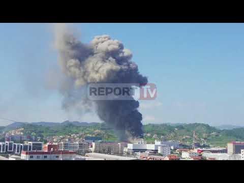 Report TV - Tiranë, përfshihet nga flakët një depo farmaceutike në Kashar