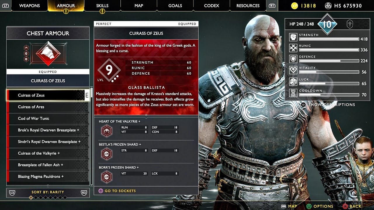 God Of War 4 New Game All Perfect Armor Sets Best Armor Of Zeus Best Gear In Gow 2018 Ps4 Pro