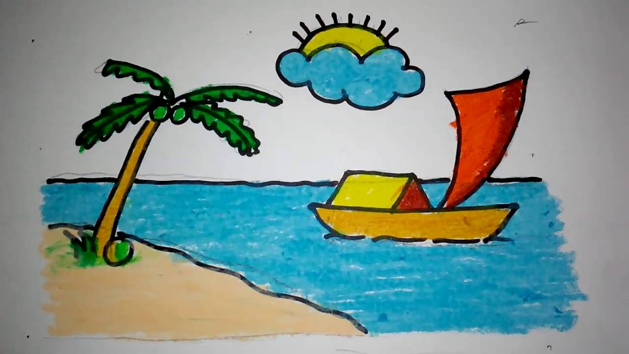 Cara Menggambar Pemandangan Pantai Youtube