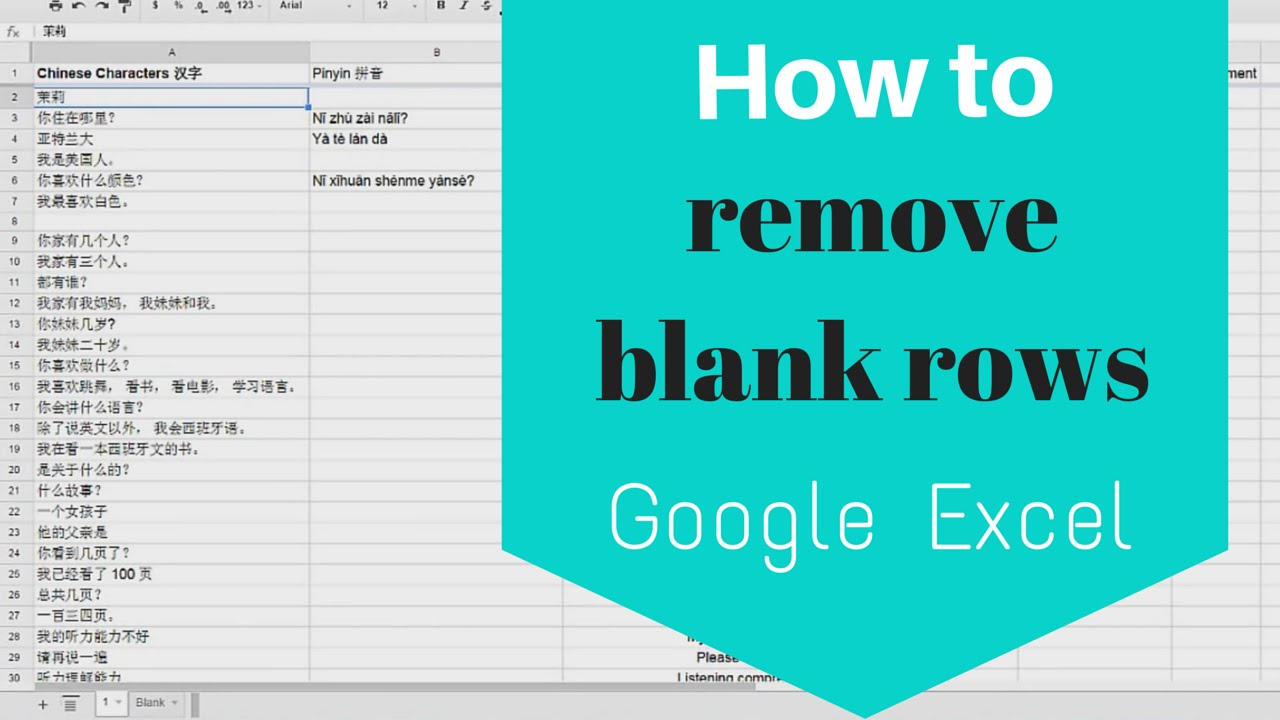 How To Remove Blank Rows From Google Excel Sheets Quickly