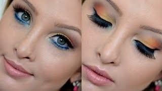 Maquiagem Verão (amarelo+laranja+azul)