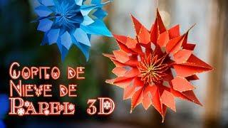 Copito de Nieve de Papel 3D o 3D Snowflake Muy Facil