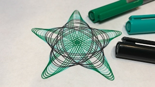 Green and Black Rounded Star Design | Spirograph