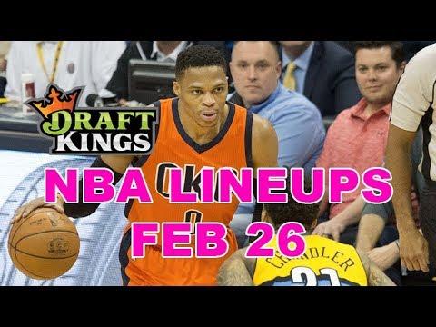 DraftKings, FanDuel, Yahoo NBA DFS Lineups - Tues 2/26 - Four Corners by Awesemo.com