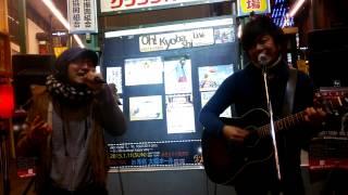 2015.1.11 NHK大阪ホール目前に控えた秋休が、京橋ひがし商店街でのスト...