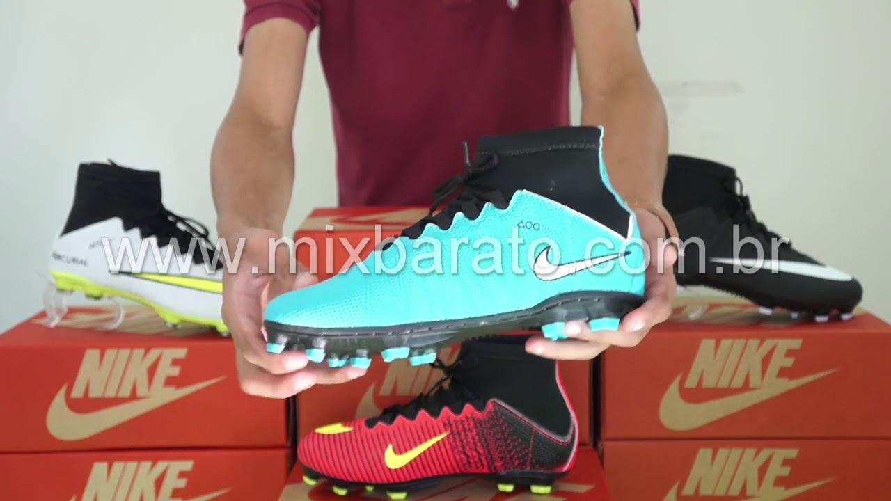 433a74f3a2794 Chuteira Nike Mercurial Cano Alto Campo - Mix Barato - YouTube
