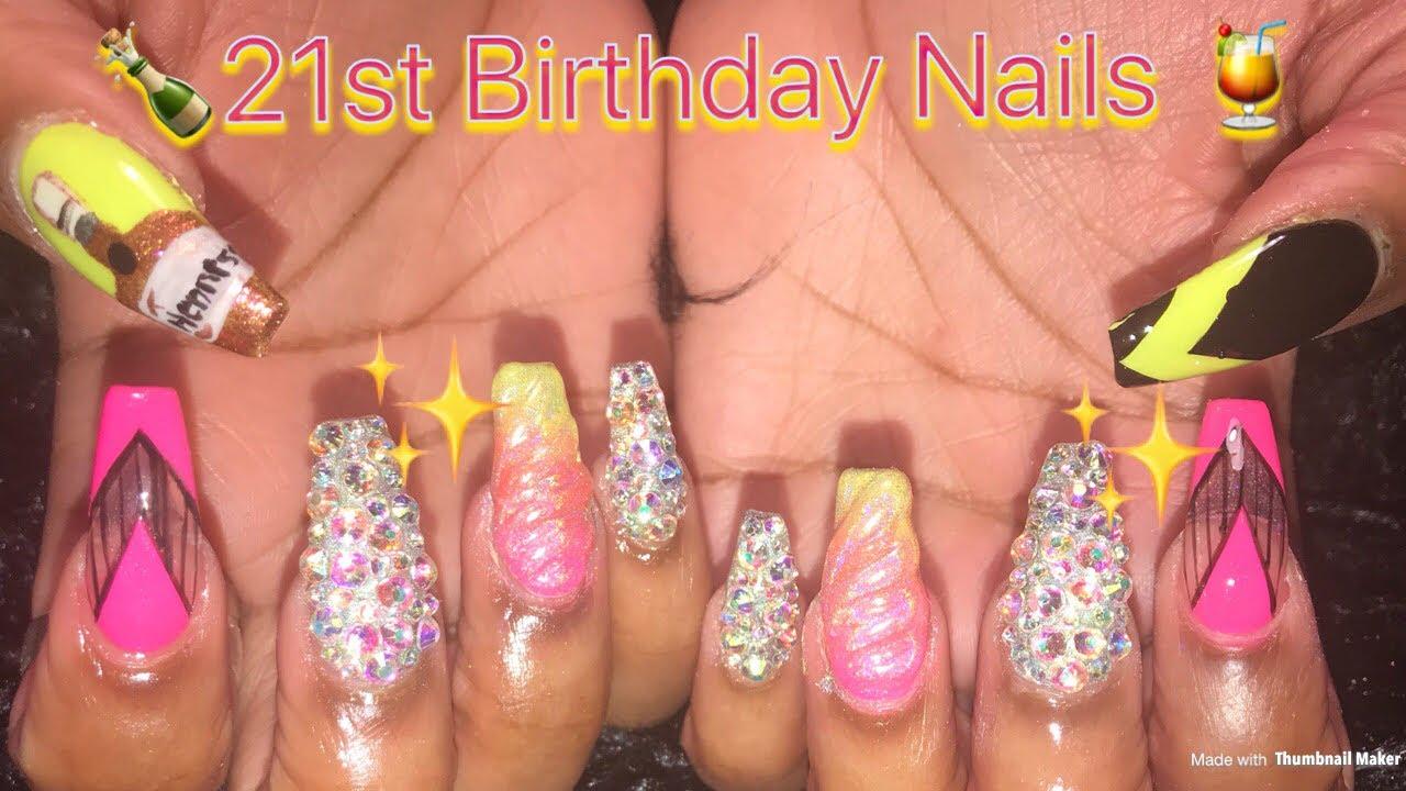 Acrylic Nails Design   21st Birthday Nails - YouTube