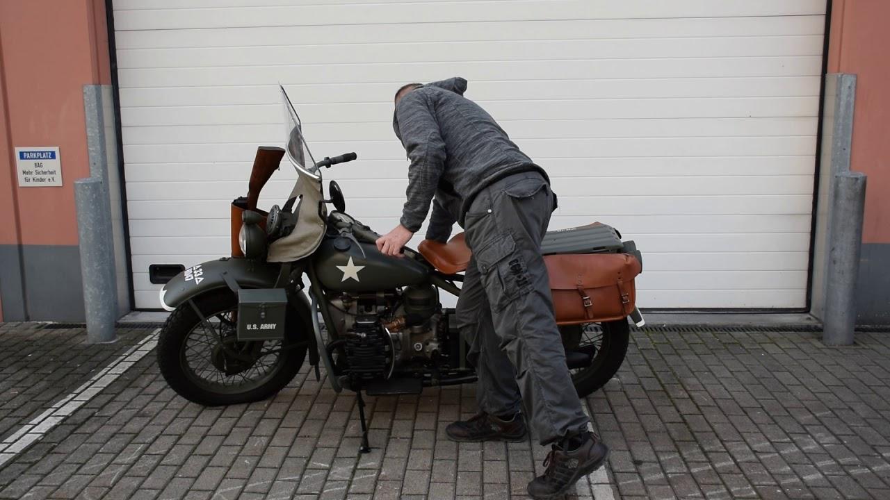 Harley Davidson XA experimental motorcycle, engine starting