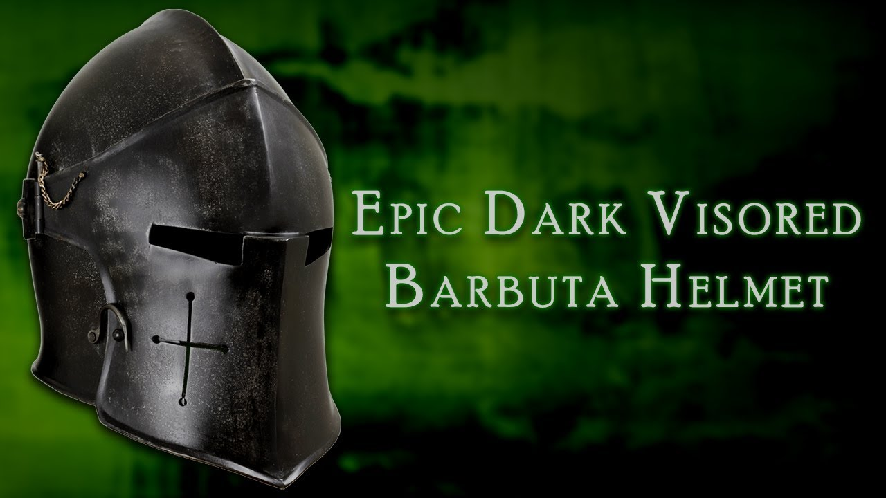 MCI-2429 Epic Dark Visored Barbuta Helmet from Medieval Collectibles