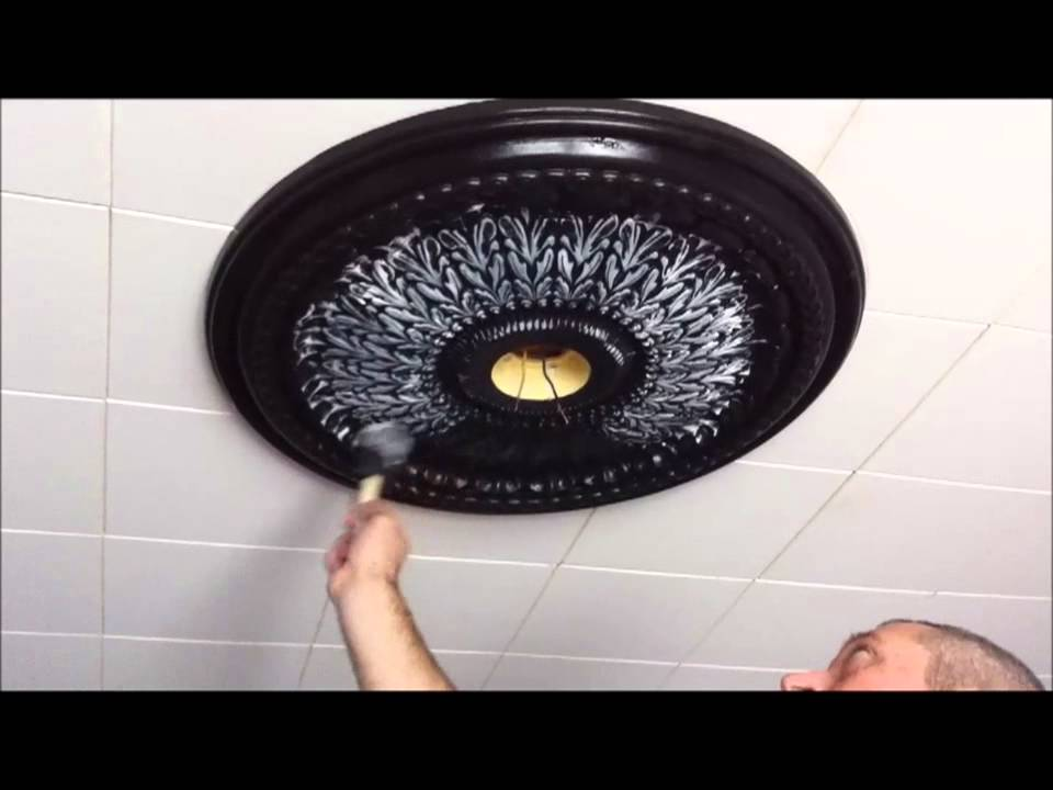 changing a ceiling medallion & light fixture - youtube
